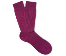 Waddington Ribbed Cashmere-blend Socks - Violet