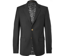 Black Slim-fit Wool And Mohair-blend Blazer