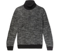 Checked Cashmere And Silk-blend Rollneck Sweater