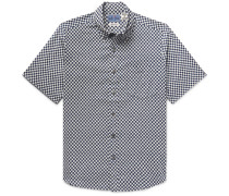 Button-down Collar Checked Cotton Shirt - Indigo