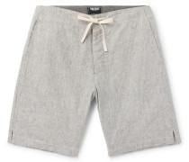 Striped Slub Cotton Drawstring Shorts - Charcoal