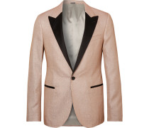 Champagne Slim-fit Satin-trimmed Glittered Woven Tuxedo Jacket - Pink
