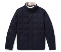 Storm System Quilted Cashmere And Cotton-blend Down Jacket - Navy