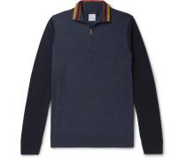 Stripe-Trimmed Colour-Block Merino Wool Half-Zip Sweater