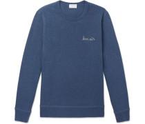 Embroidered Mélange Fleece-back Cotton-jersey Sweatshirt - Navy