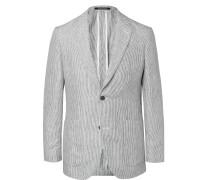 Indigo Spirit Pinstriped Linen Blazer - Indigo