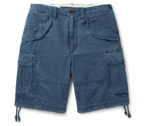 Washed Cotton-ripstop Cargo Shorts - Blue