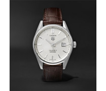 Carrera Automatic 39mm Steel And Alligator Watch - White