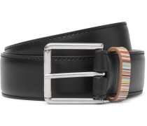4cm Black Stripe-trimmed Leather Belt - Black