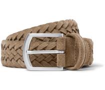 3.5cm Light-brown Woven Suede Belt - Brown
