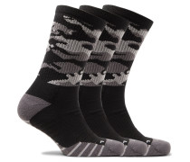 Three-pack Everyday Cushioned Camouflage Dri-fit Socks - Black