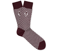 Jacquard-knit Cotton-blend Socks