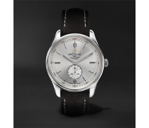 Premier Automatic 40mm Stainless Steel And Nubuck Watch - Silver