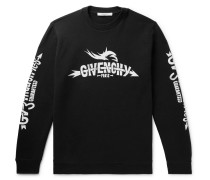 Printed Loopback Cotton-jersey Sweatshirt - Black