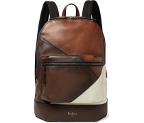 Volume Patchwork Leather Backpack - Brown