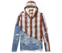 Panelled Distressed Denim And Striped Cotton-twill Hoodie