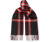 Fringed Checked Wool Scarf - Black