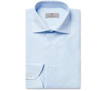 White Cutaway-Collar Slub Cotton and Linen-Blend Shirt