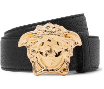 4cm Black Full-grain Leather Belt - Black