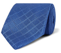 8cm Silk And Cotton-blend Jacquard Tie - Blue