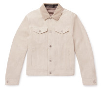 Corduroy-trimmed Suede Trucker Jacket - Cream
