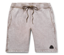 Acid-Washed Loopback Cotton-Jersey Drawstring Shorts