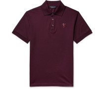 Slim-fit Embroidered Cotton-piqué Polo Shirt - Merlot