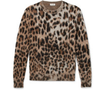 Slim-fit Leopard-print Mohair-blend Sweater - Camel