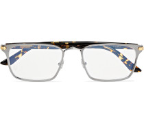 Square-Frame Tortoiseshell Acetate and Silver-Tone Optical Glasses