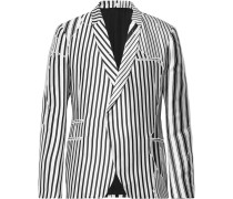 Double-breasted Striped Twill Blazer