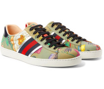 Ace Leather-trimmed Printed Canvas Sneakers