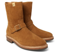 Folk Brushed-suede Boots - Tan