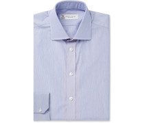 Navy Slim-Fit Striped Cotton Shirt
