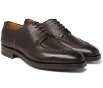 Dover Textured-leather Derby Shoes - Brown