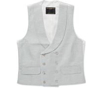 Brick Double-Breasted Linen Waistcoat