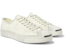 Jack Purcell Ox Distressed Suede-trimmed Canvas Sneakers - Off-white