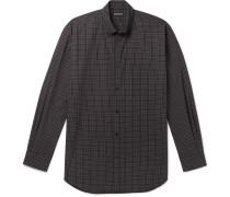 Oversized Button-Down Collar Logo-Print Checked Cotton-Poplin Shirt