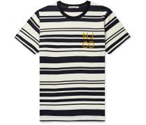 Roy Barcode Logo-Flocked Striped Cotton-Jersey T-Shirt