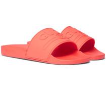 Logo-embossed Rubber Slides - Tomato red