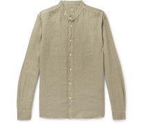 Grandad-Collar Garment-Dyed Linen Shirt