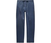 Slub Linen and Cotton-Blend Pyjama Trousers