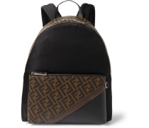 Logo-Print Coated-Canvas and Shell Backpack