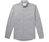 Button-Down Collar Mélange Cotton and Linen-Blend Shirt