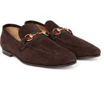 Elanor Horsebit Webbing-trimmed Suede Loafers