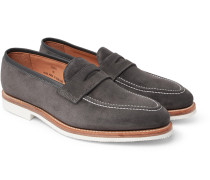 Capri Suede Penny Loafers - Gray