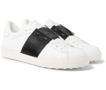 Valentino Garavani Open Striped Leather And Calf Hair Sneakers