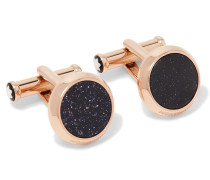 Meisterstück PVD-Coated Rose Gold-Tone and Blue Goldstone Cufflinks