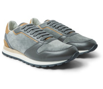 Suede And Leather Sneakers - Gray