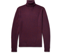 Slim-fit Mélange Wool Rollneck Sweater - Burgundy