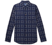 Checked Cotton-flannel Shirt - Indigo